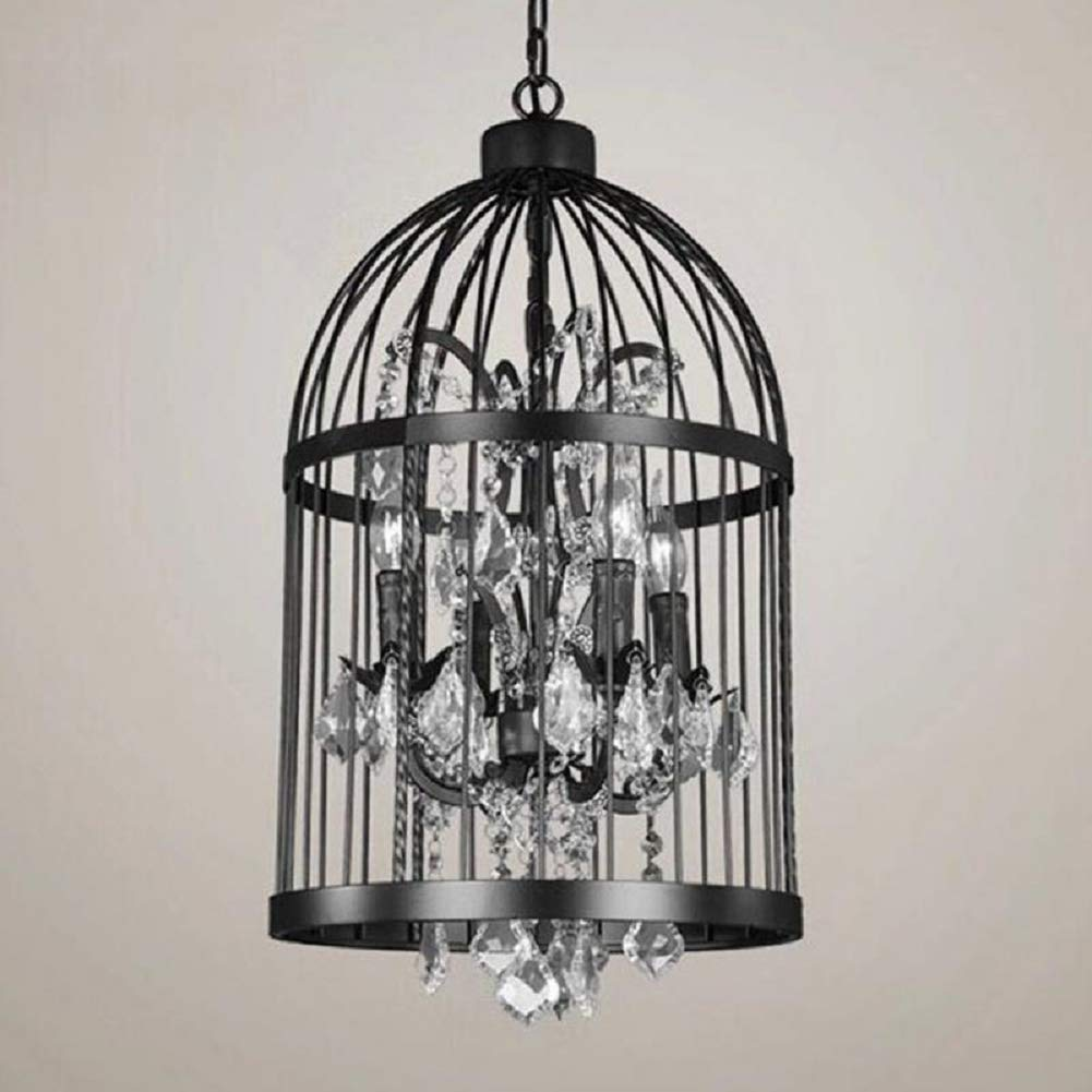 Efperfect Bird Cage Chandelier - Metal Cage Chandelier - USA Country Industrial Iron Chandelier Bird Cage Creative Vintage Wine Lamp