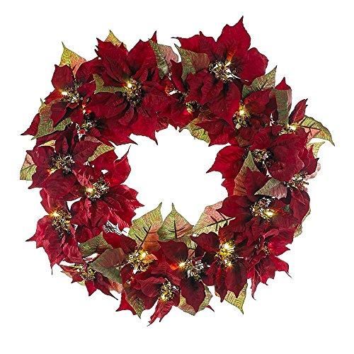 Kurt Adler 24-Inch Battery-Operated Red Poinsettia LED Wreath ()