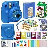 Fujifilm Instax Mini 9 Camera COBALT BLUE + Accessory kit for Fujifilm Instax Mini 9 Camera Includes Instant camera Fuji Instax Film 20 pck Instax Case with strap Instax Album + frames lenses and more