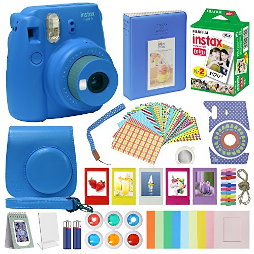 Fujifilm Instax Mini 9 Camera COBALT BLUE + Accessory kit for Fujifilm Instax Mini 9 Camera Includes Instant camera Fuji Instax Film 20 pck Instax Case with strap Instax Album + frames lenses and more by MiniMate