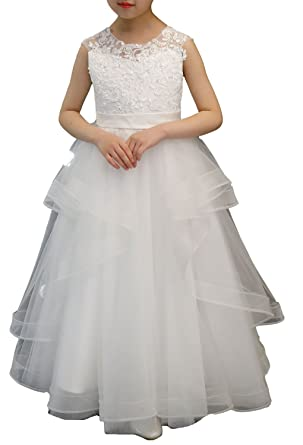 Amazon.com: Angel Formal Dresses A line Wedding Pageant Lace Flower Girl Dress with Belt 2-12 Year Old: Clothing