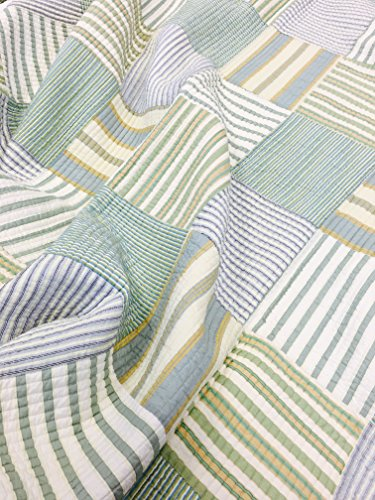 Spa Striped Patchwork 3-Piece Quilt Set (Full/Queen Size) by Cozy Line Home Fashions (Image #2)