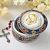 "Madonna and Child Rosary Box - 2.75"" Trinket Box for Rosary Beads, Keepsakes, Small Jewelry and Mementos"