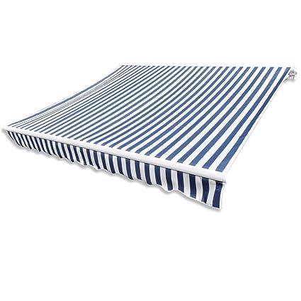 vidaXL Markisenstoff Blau Weiß 481x296 cm Markisentuch Sonnendach Sonnenschutz