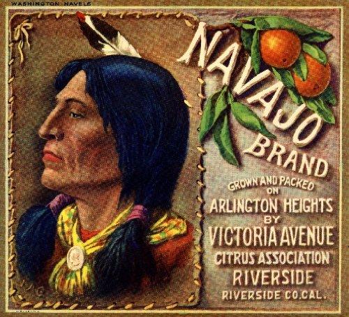 A SLICE IN TIME Riverside, Riverside County Navajo Orange Citrus Fruit Crate Box Label Art - Crate Fruit Vintage