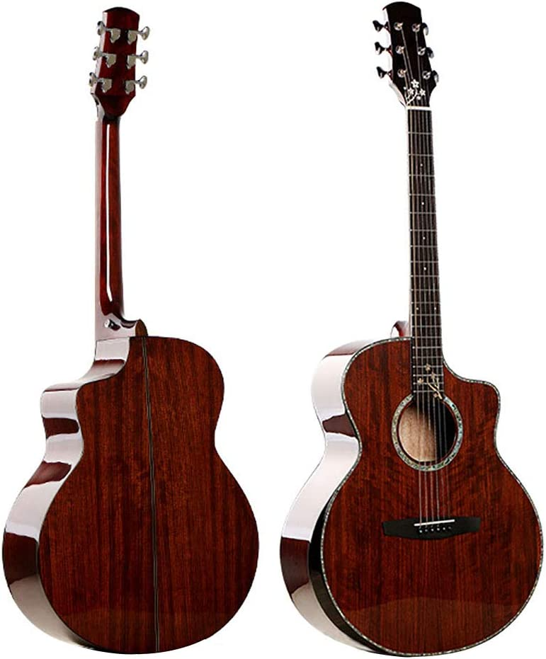NUYI 40.5 Pulgadas Chapa De Picea De Palisandro Flores Talladas Reposabrazos De Caja Conjunto Guitarra Acústica Eléctrica