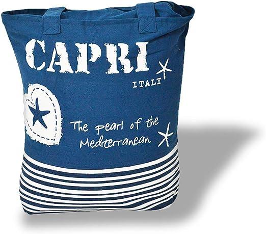 RP Bolsa playa playa maxi de algodón pesado con asas y cremallera Viva St.Tropez – Azul: Amazon.es: Hogar