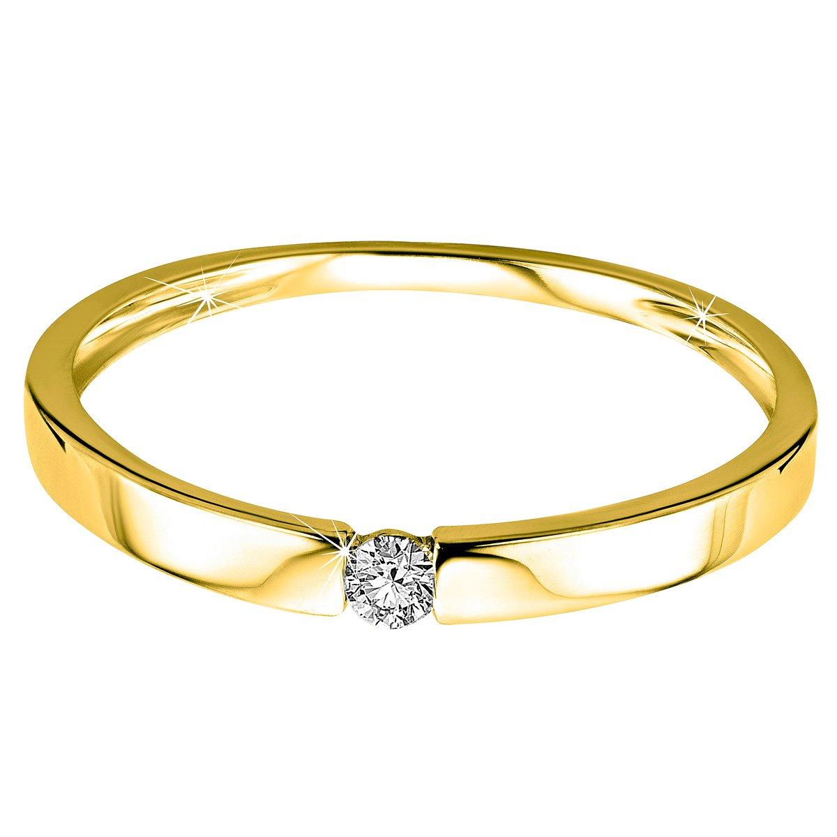 Orovi anillo de mujer solitario 0.05 Quilates diamantes en oro amarillo 9 kilates ley 375: Amazon.es: Joyería