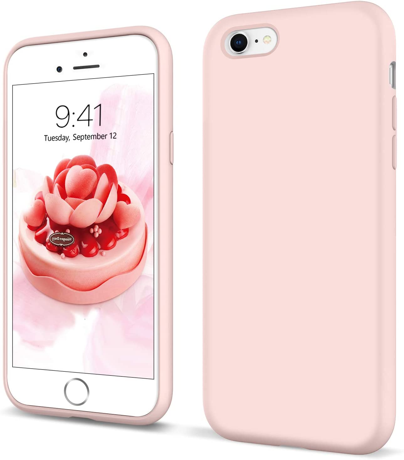 YINLAI iPhone 6S Case iPhone 6 Case Liquid Silicone Soft Rubber Cover Non Slip Microfiber Cloth Lining Cushion Shockproof Protective Durable Phone Case for iPhone 6/6S,Pastel Pink