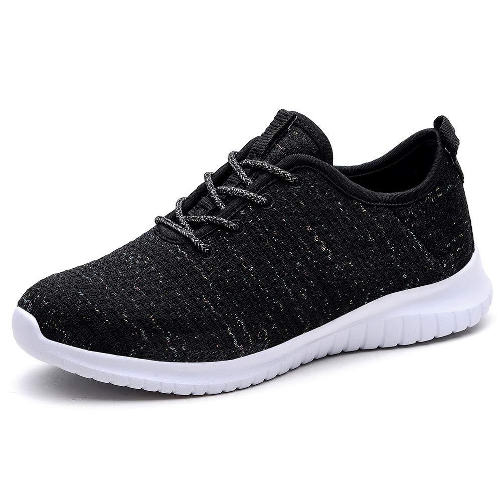 TIOSEBON Women's Lightweight Golf Shoes Breathable Walking Sneakers 7.5 US Black