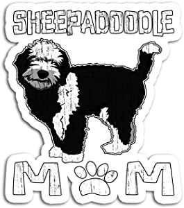 Decal Stickers for Laptop Sticker for Tumblers Sheepadoodle Mom Puppy Cute Pet Animal Dog Lover Waterproof Decal Perfect for Phone Water Bottle Vehicles (5 Pcs/Pack)
