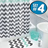 chevron trash can - mDesign Chevron Fabric Shower Curtain, Microfiber Accent Rug, Toilet Bowl Brush, Wastebasket Trash Can - Set of 4, Gray/Aruba Blue