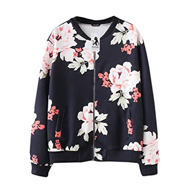 99e9111502e HLHN Women Jacket Hoodies Coat Floral Plus Size Long Sleeve Windbreaker  Casual Zip Pockets Outwear Winter  Amazon.co.uk  Clothing