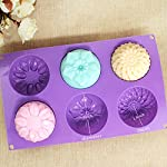 Pieces 6 Cavity Silicone Flower Soap Mold Chrysanthemum Sunflower Mixed Flower shapesCupcake Backing mold Muffin pan Handmade soap silicone Moulds 9 Dimensions:28*16.5*3CM Cavity Size:7.5*3cmNon-stick&Flexible: Pop out easily with smooth surface. Temperature Safe from -104 to +446 degrees Fahrenheit (-40 to +230 degrees Celsius) Safe use in Microwave, Oven, Refrigerator, Freezer and Dishwasher . 3 Different 3D Flower Pattern- can be used to make cupcakes, muffins, mini cakes, cake pops, cookies, lollipops, chocolates, breads, mini quiches and potpies, pudding and more! You can even use them as a tray to make uniquely shaped soap or ice.