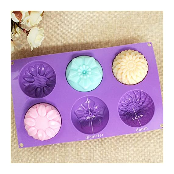 Pieces 6 Cavity Silicone Flower Soap Mold Chrysanthemum Sunflower Mixed Flower shapesCupcake Backing mold Muffin pan Handmade soap silicone Moulds 2 Dimensions:28*16.5*3CM Cavity Size:7.5*3cmNon-stick&Flexible: Pop out easily with smooth surface. Temperature Safe from -104 to +446 degrees Fahrenheit (-40 to +230 degrees Celsius) Safe use in Microwave, Oven, Refrigerator, Freezer and Dishwasher . 3 Different 3D Flower Pattern- can be used to make cupcakes, muffins, mini cakes, cake pops, cookies, lollipops, chocolates, breads, mini quiches and potpies, pudding and more! You can even use them as a tray to make uniquely shaped soap or ice.