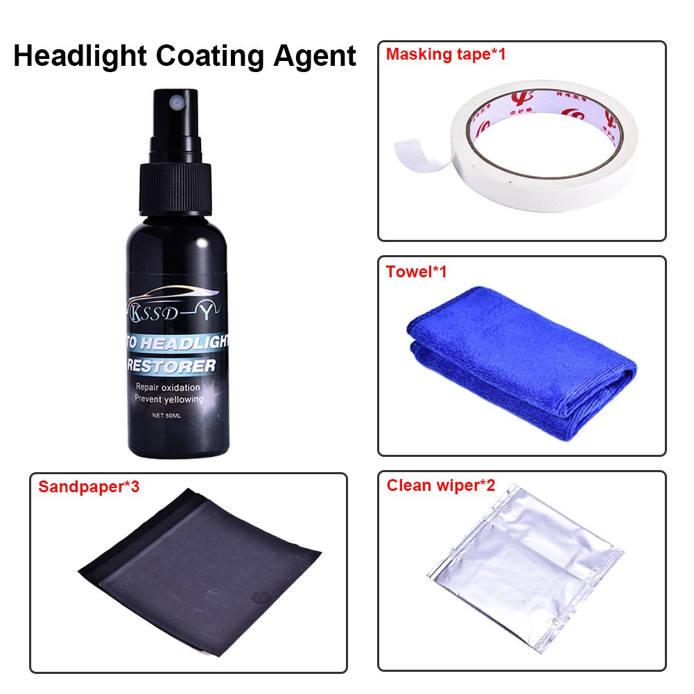 50ML Car Headlight Lens Renovation System Restorer Kit Repair Agent, Do-It-Yourself Headlight Restoration kit Removes Scratches, Restore Dull, Faded blue--net