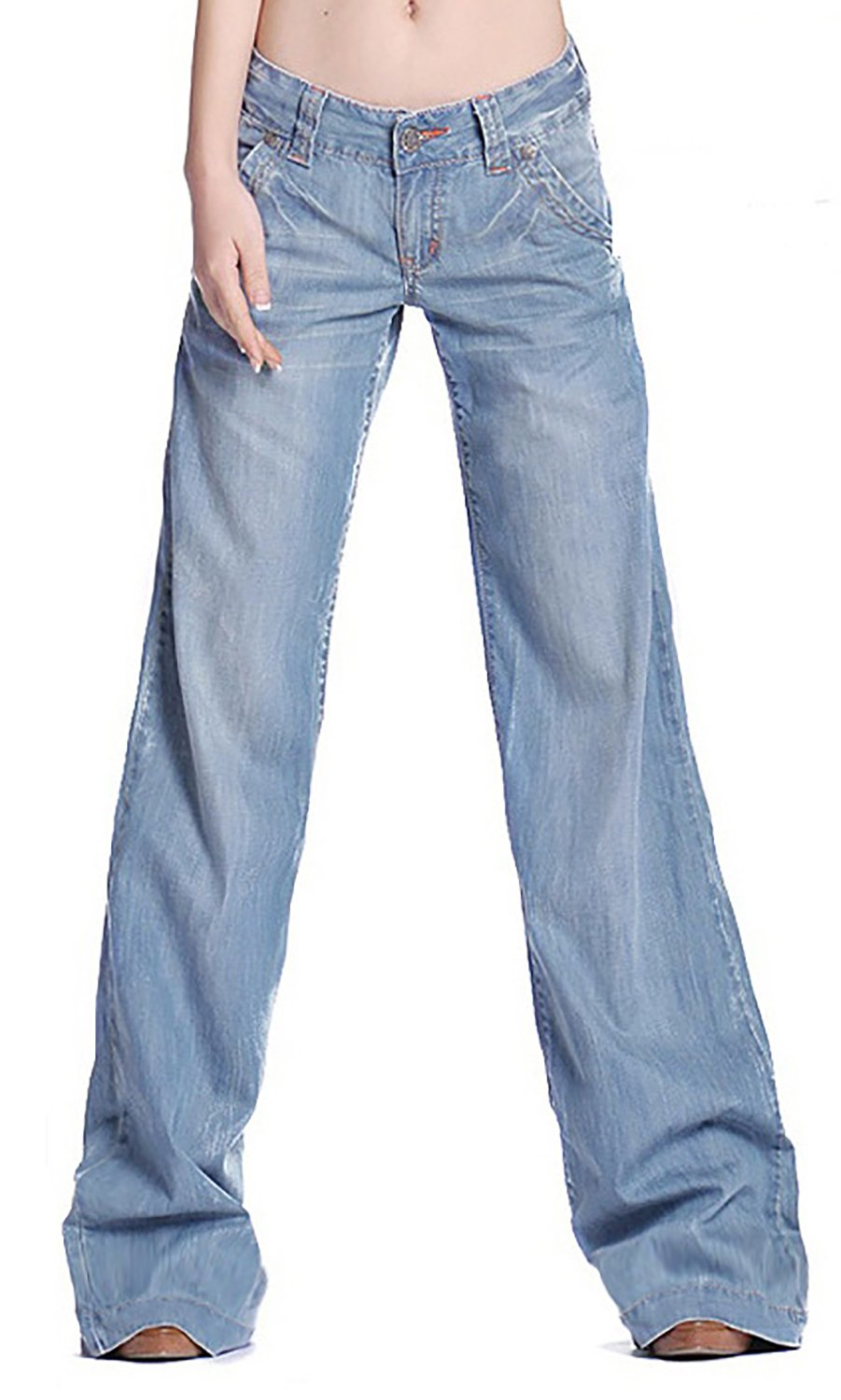 Women's Fashion Light Blue Loose Curvy Bootcut High Waist Straight Fit Jeans 12 by GARMOY (Image #3)