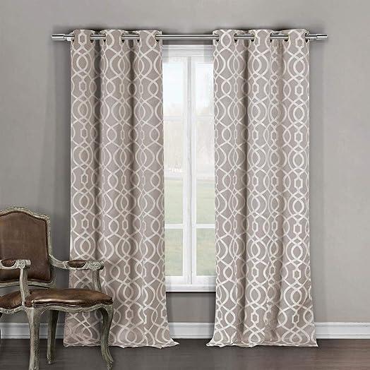 Duck River Textile Harris Heavy Blackout Darkening Window Curtain 2 Panels, 36 x 96, Beige