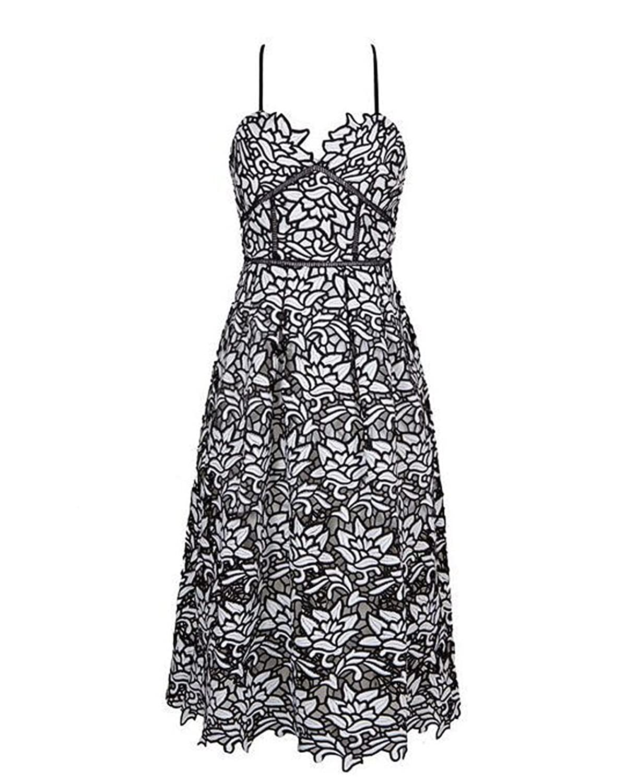 Whoinshop Women's V Neck Spaghetti Strappy Midi Crochet Lace Dress for Party