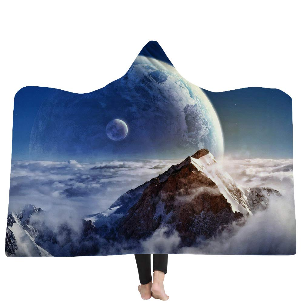 Nordic Style Colorful Cosmic Galaxy Scenery Wearable Hooded Blanket,Luxuy Thickened Hypoallergenic Sherpa Fleece Blanket,Ultra Soft and Warm,Winter TV Computer Throwing Blanket for Adults & Kids