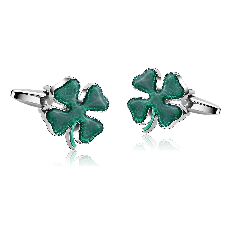 Aooaz Cufflinks for Men Stainless Steel Cuffs Green Clover Irish Ireland Shamrock Pair 1.5X1.8CM Green CJ65NOVMOD260EKU