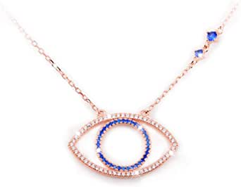 Evil Eye Jewelry Necklace - 925 Sterling Silver Blue White CZ Pendant Choker Necklace Gifts for Women Girl