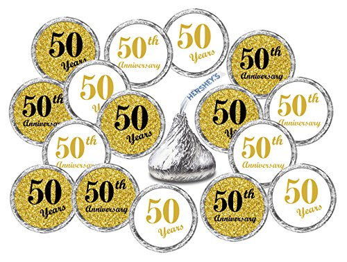 50th Anniversary Kisses Stickers, (Set of 216) Chocolate Drops Labels Stickers For 50th Wedding Anniversary, Hershey's Kisses Party Favors -