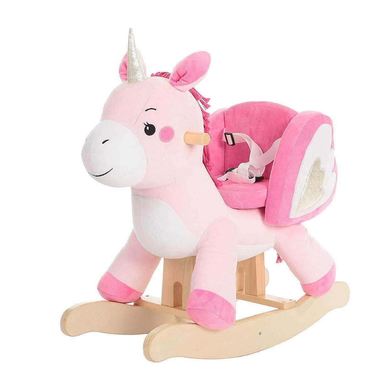 Wooden Rocking Horse, Kids Unicorn Rocker Ride On, Plush Stuffed Animal Rocker Toy for Kid 1-3 Years