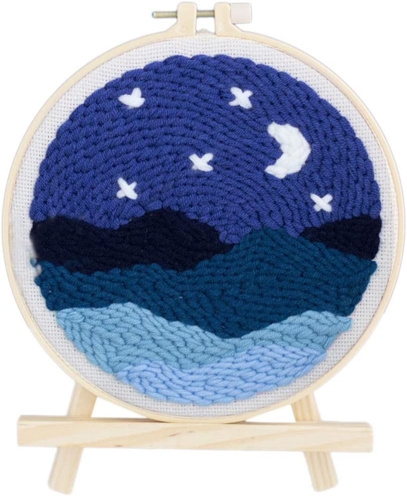 Embroidery Frame HMANE 8 x 8 Inch DIY Rug Hooking Kit Handcraft Woolen Embroidery Knitting with Punch Needle Lakeside A-Frame Creative Gift