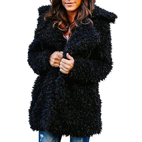 Jerome10Dan Abrigo De La Mujer, Corto De Piel Sintética De Manga Larga Abrigo Esponjoso De