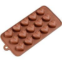BESTONZON Stampo in Silicone per Cioccolatini Dolci Ghiaccio Forma di Cuore 15 Cavità (caffè)