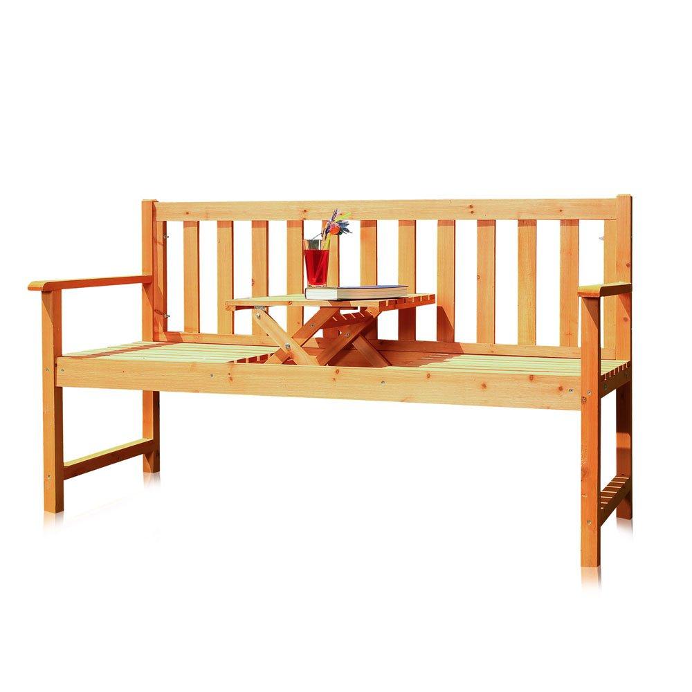 Amazon.de: Melko® Gartenbank mit integriertem Klapptisch, 152, 5 x ...