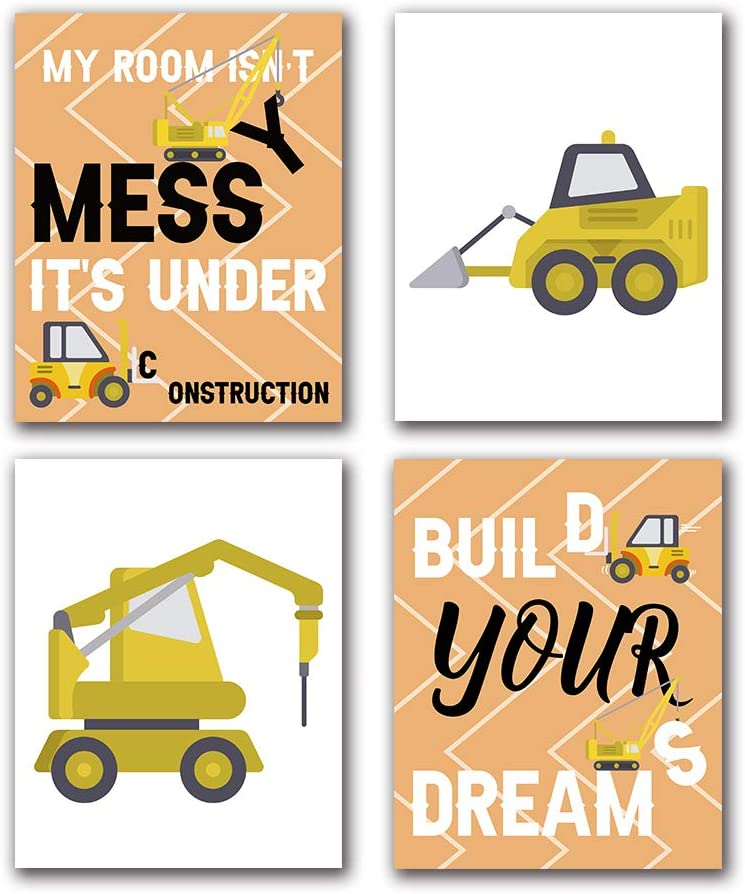 "Funny Construction Trucks Cartoon Construction Transport Vehicle Art Print Inspirational Quote Canvas Wall Art Printing for Nursery Classroom Kids Boy Room Home Decor, Set of 4 (8""X10""), No Frame"