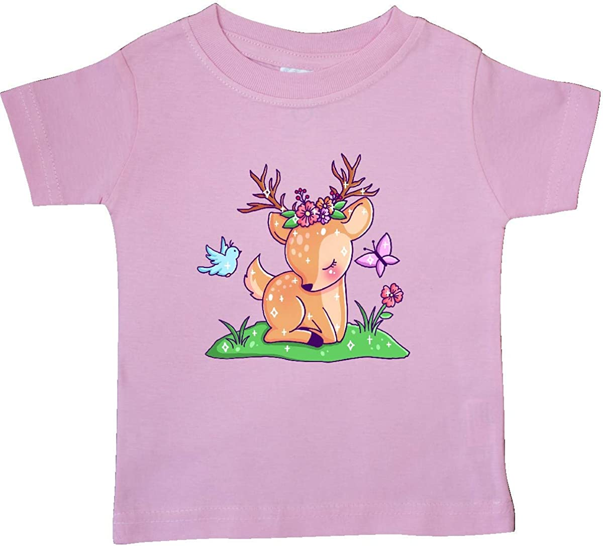 Bird and Baby T-Shirt 12 Months Pink inktastic Cute Baby Deer with Butterfly