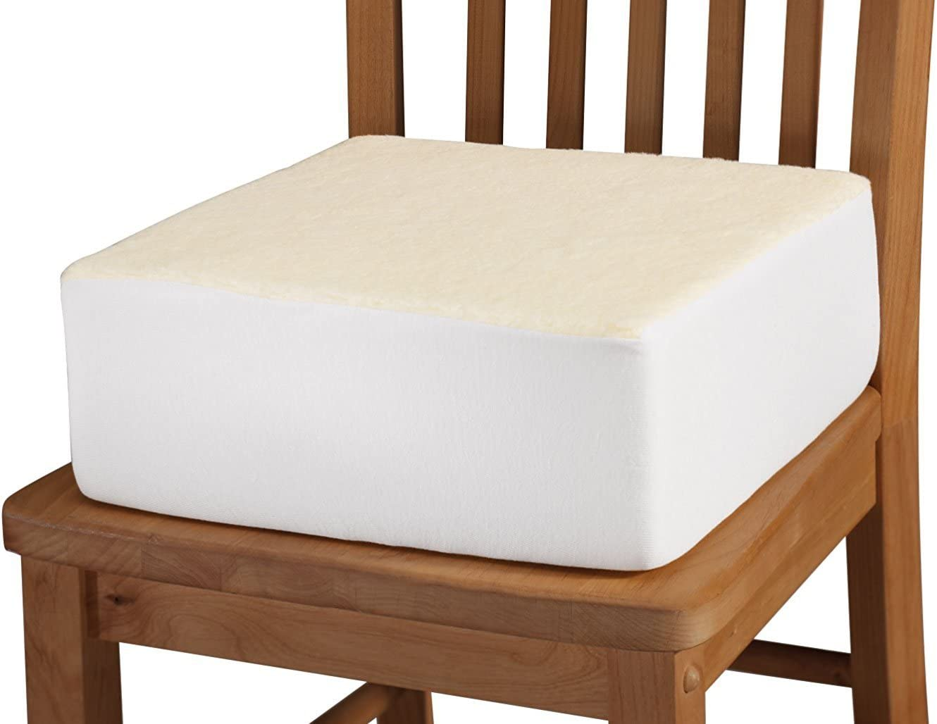 Extra Thick Foam Chair Cushion – Portable Chair Pad Removable Washable Beige Slip-on Cover – 5 Inches Thick Added Pain Pressure Relief