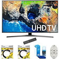 Samsung 48.5 4K Ultra HD Smart LED TV 2017 Model (UN49MU7000) with 2x 6ft High Speed HDMI Cable, Screen Cleaner for LED TVs & Transformer Tap USB w/ 6-Outlet Wall Adapter and 2 Ports