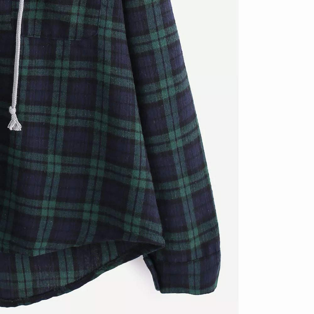 ReooLy Plaid /à Capuche Manches Longues Femmes Sweat-Shirt /à Capuche d/écontract/é /à Manches Longues et /à Carreaux pour