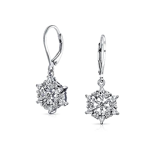 Marquise Cubic Zirconia Winter Holiday CZ Snowflake Leverback Dangle Drop Earrings For Women 925 Sterling Silver