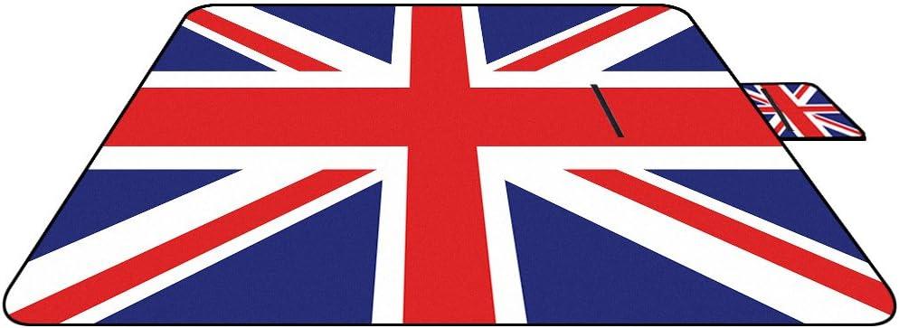 Manta de Picnic con Bandera de Reino Unido, Impermeable, antiarena, Manta para bebé con asa, Alfombra Plegable para Acampar o Viajar