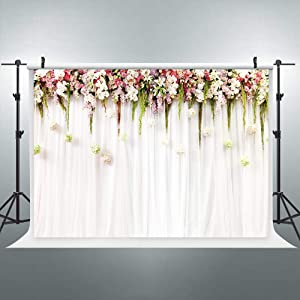 Riyidecor Bridal Floral Backdrop Wedding Flowers Blossom Photography Background 8WX6H Feet Baby Shower Wall Decoration Birthday Studio Newborn Props Party Photo Dessert Table Shoot Vinyl Cloth