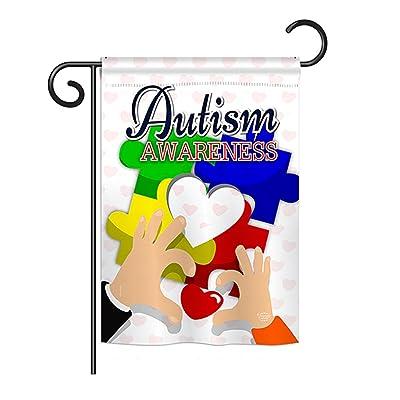 "Ornament Collection G192068 Love Autism Awareness Decorative Vertical Garden Flag, 13"" x 18.5"", Multicolor : Garden & Outdoor"