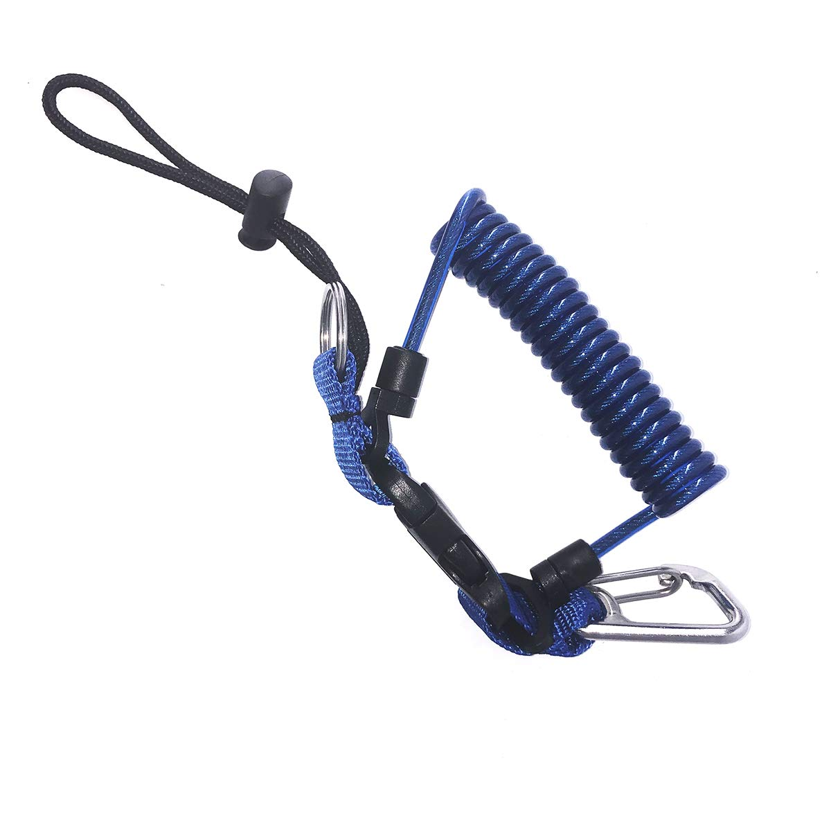 Kinno Scuba Spring Rope, Diving Lanyard Anti-Lost Spring Coiled Buckle for Diving Camera Cover Rope (Navy)