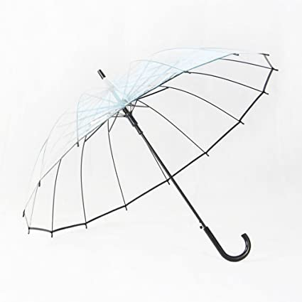 MinegRong 16 hueso paraguas transparente pequeño mango largo recto fresco paraguas creativo estudiantes masculinos y femeninos