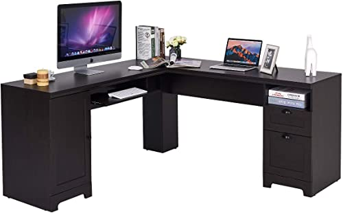 "Tangkula 66"" 66"" L-Shaped Desk"