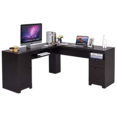 Tangkula L-Shaped Desk Corner Computer Desk, with Drawers and Storage Shelf, Home Office Desk, Sturdy and Space-Saving Writing Table, Wood Grain 66 66 30 LxW H Black