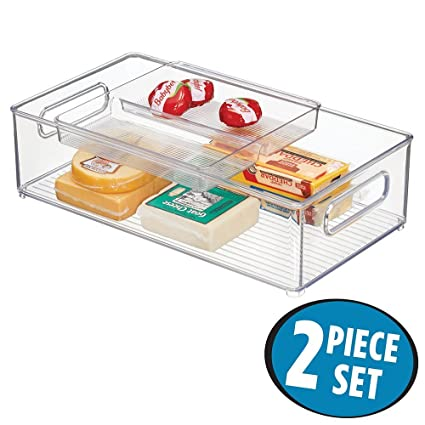 mDesign Juego de 2 cajones de cocina con bandeja – Práctico cajón de plástico para la