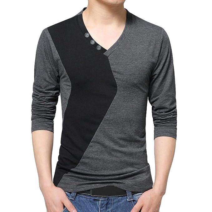 JiaMeng Cuello Alto para Hombre Camiseta de Manga Larga Blusa Pura ...