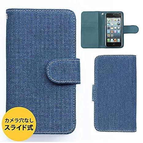 34ed180854 EveryPhone EP-172PR ケース カバー 手帳型ケース スライド式 デニム生地 (カラー ブルー