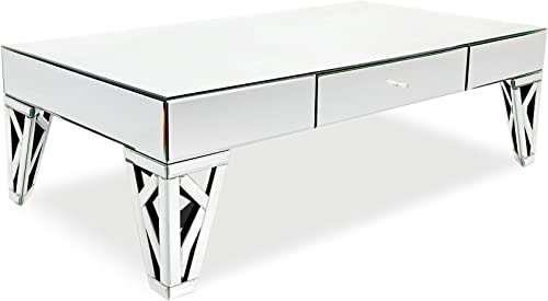 Modern Azure Mirrored Glass Coffee Table