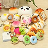 New 30PCS Random Squishy Soft Panda/Bread/Cake/Buns Phone Straps Decor By KTOY